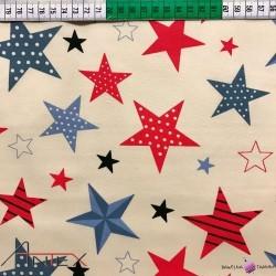 Bawełna wzorzyste gwiazdki na beżowym tle