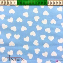 Bawełna białe serduszka na niebieskim tle