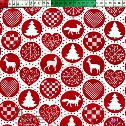 Bawełna wzór świąteczny koła czerwone