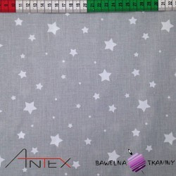 Cotton white big & small stars on gray background
