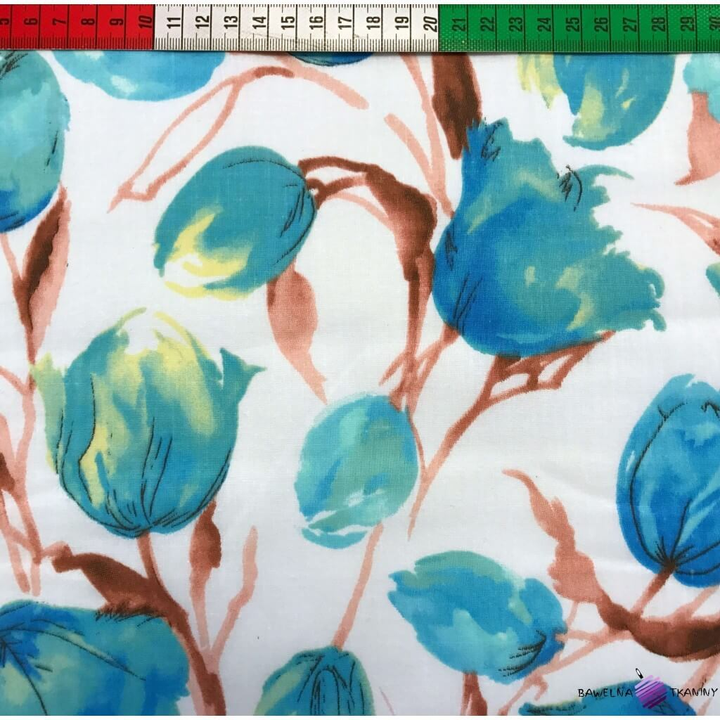 Bawełna tulipany niebieskie na białym tle