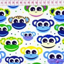 Bawełna małpki zielono niebieskie na białym tle