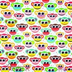 Bawełna kolorowe małpki na białym tle