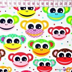małpki czerwono żółte na białym tle
