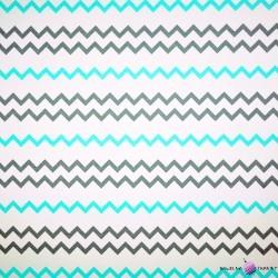 Bawełna wąskie Zygzaki szaro błękitne