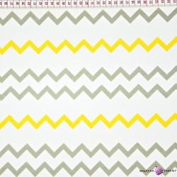 Bawełna wąskie Zygzaki szaro żółte
