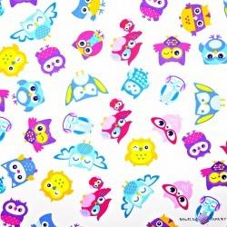 Bawełna Sowinki różowo bordowe