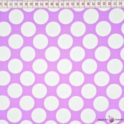 Bawełna białe koła fioletowe tło