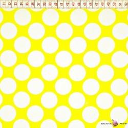 Bawełna białe koła żółte tło