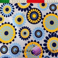 wodoodporna tkanina kwiatki żółto błękitne