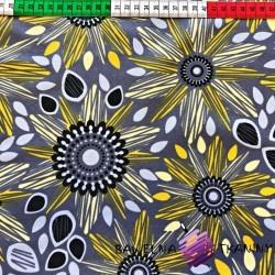 wodoodporna tkanina kwiatki żółto szare