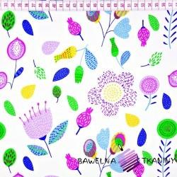 Bawełna fioletowo zielona łąka na białym tle