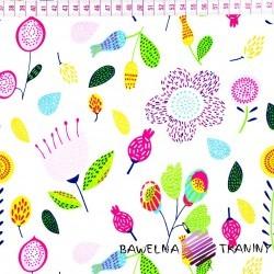 Bawełna różowo zielona łąka na białym tle