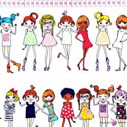 Bawełna kolorowe dziewczyny na białym tle
