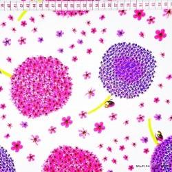 Bawełna fioletowo różowe dmuchawce na białym tle