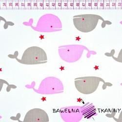 Bawełna szaro różowe wieloryby na białym tle