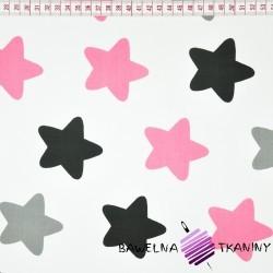 Bawełna gwiazdki piernikowe szaro różowe na białym tle