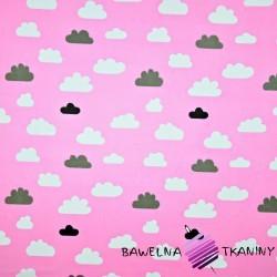 Bawełna biało szare chmurki na różowym tle