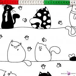 Bawełna szalone czarne koty na białym tle