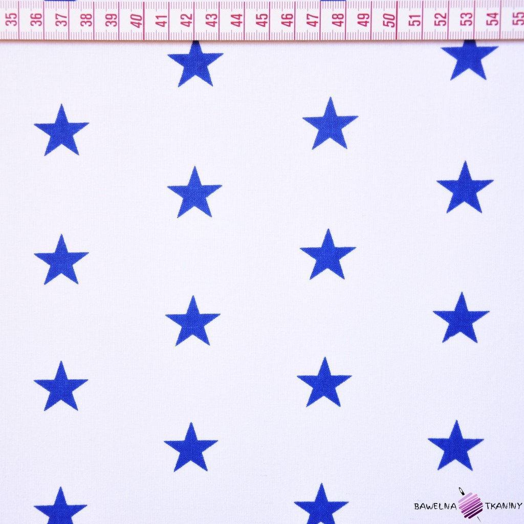 Bawełna gwiazdki granatowe na białym tle