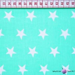 Bawełna gwiazdy białe na miętowym tle