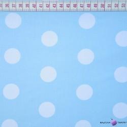 Bawełna grochy duże białe na niebieskim tle