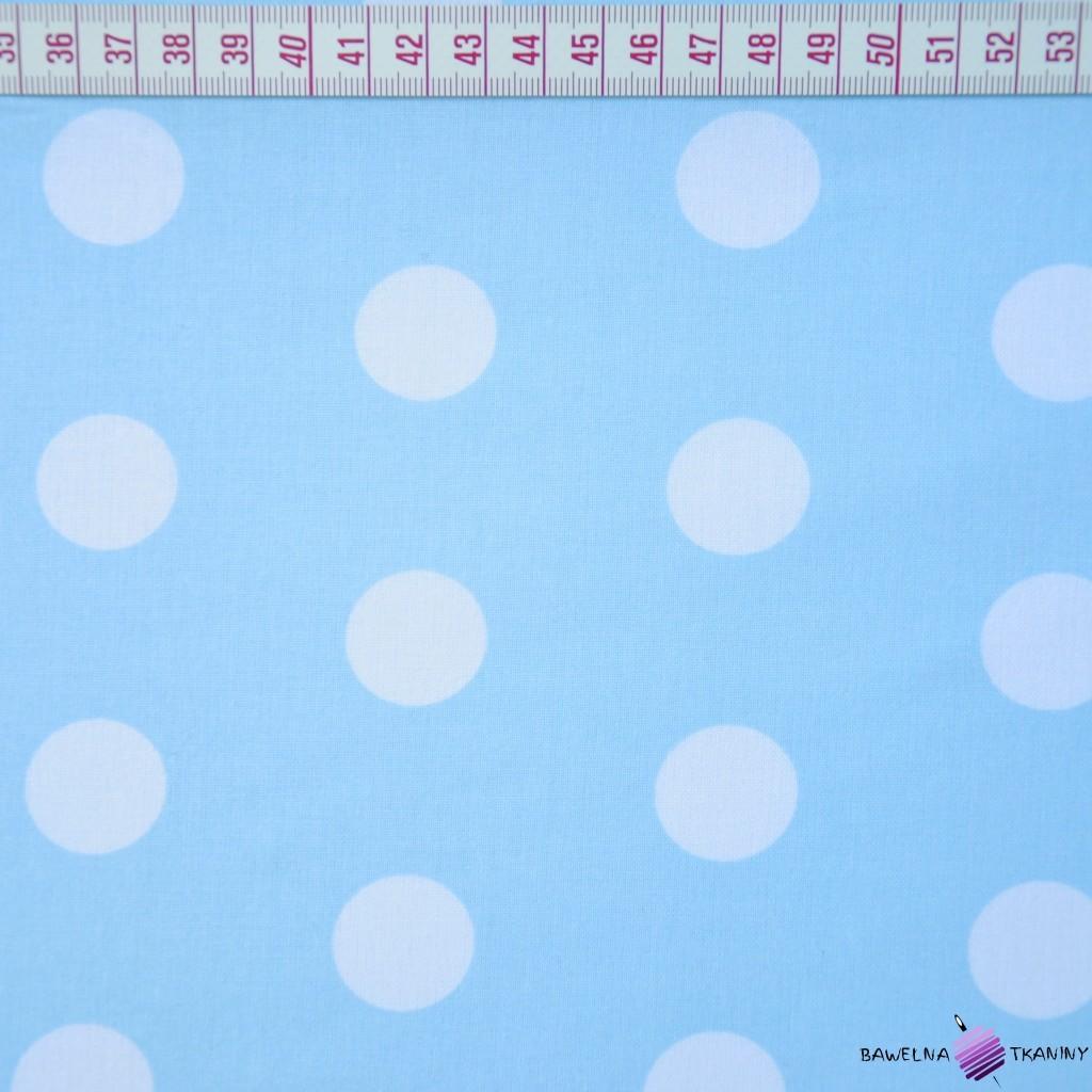 Bawełna białe grochy niebieskie tło