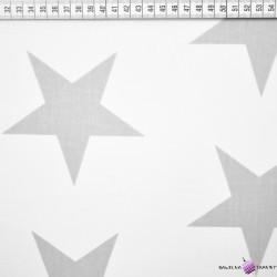 Bawełna duże szare gwiazdy na białym tle