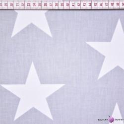 Bawełna gwiazdy 90mm białe na szarym tle