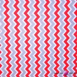 Bawełna zygzak szaro czerwony