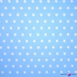 Bawełna białe gwiazdy na niebieskim tle