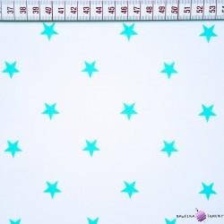 Bawełna turkusowe gwiazdki na białym tle