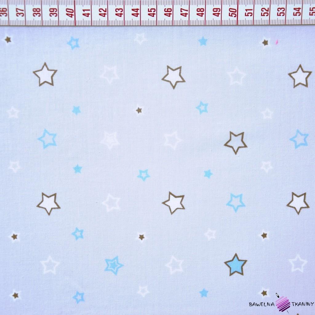 Bawełna biało niebieskie gwiazdki na szarym tle