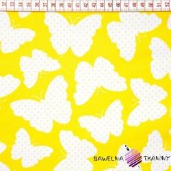 Bawełna białe motylki żółte tło