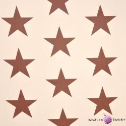 Bawełna brązowe gwiazdy na waniliowym tle