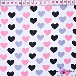Bawełna szaro różowo czarne serduszka na białym tle