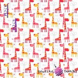 Bawełna żyrafy różowo pomarańczowe na białym tle