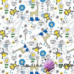 Bawełna niebieskie żyrafy i małpy na białym tle