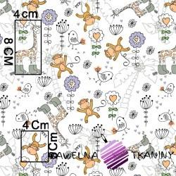 Bawełna beżowe żyrafy i małpy na białym tle
