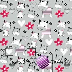 Bawełna różowe zebry na szarym tle