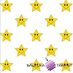 Bawełna uśmiechnięte żółte gwiazdki na białym tle