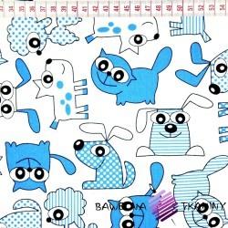 Bawełna niebieskie psy i koty na białym tle
