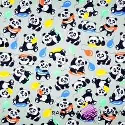 Bawełna misie pandy z balonikami na szarym tle