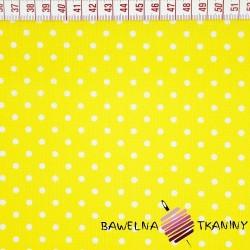 Bawełna kropki białe na żółtym tle