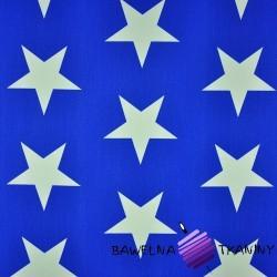 Bawełna gwiazdy 90mm białe na granatowym tle