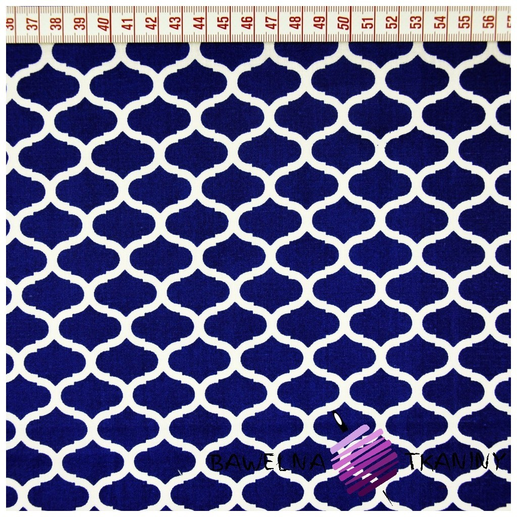 Bawełna wzrór maroko granatowy