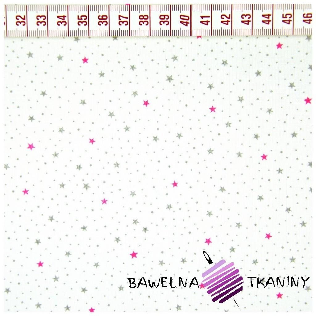 Bawełna gwiazdki MINI różowo szaro na białym tle