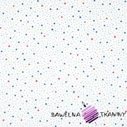 Bawełna gwiazdki MINI granatowo czerwone na białym tle