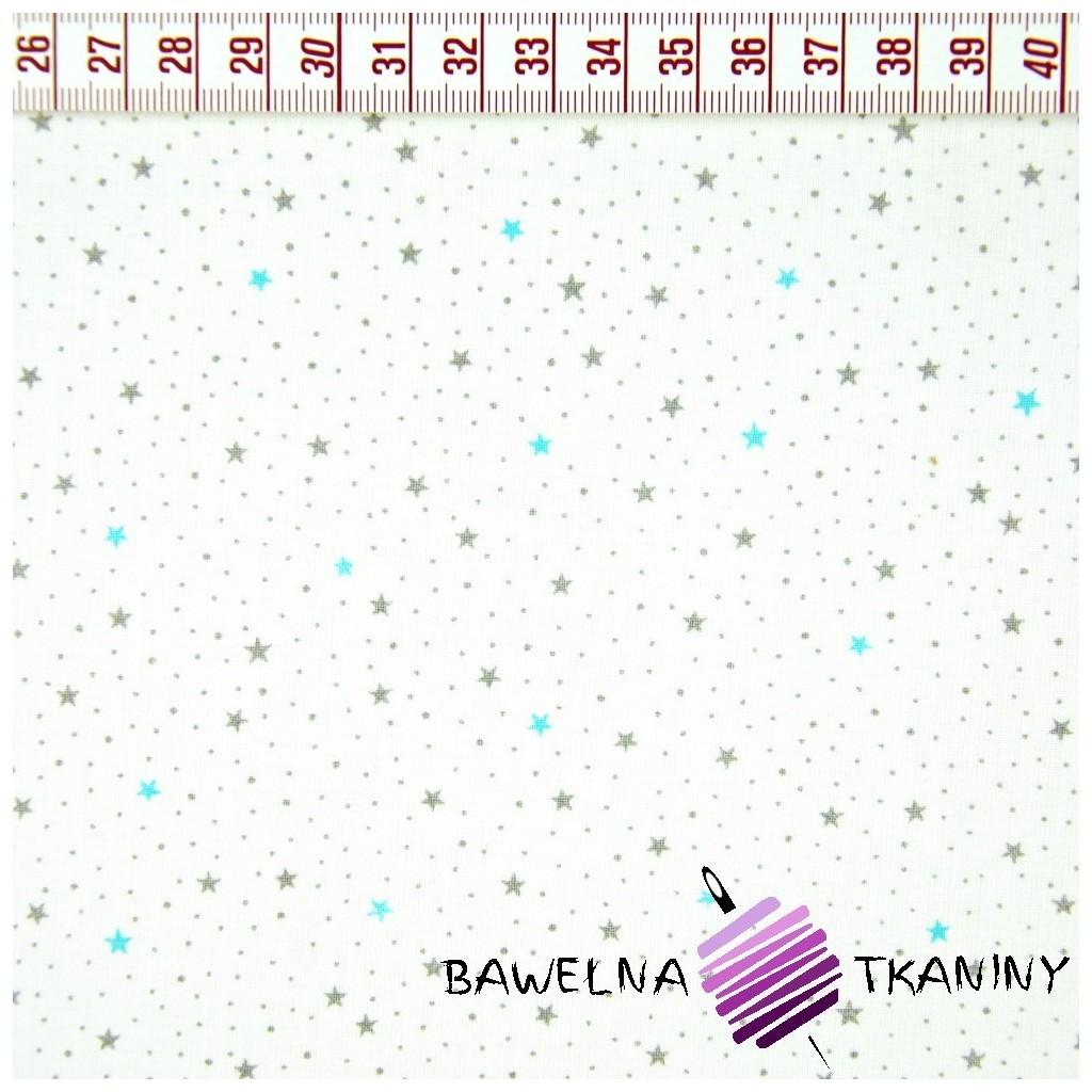 Bawełna gwiazdki MINI turkusowo szare na białym tle
