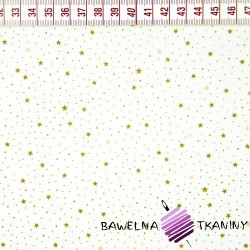 Bawełna gwiazdki MINI beżowe na białym tle